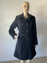 Dkny Black Cashmere And Wool Blend Belted Trench Coat Double Breasted Size 8p / Pm