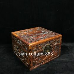 11 Chinese Antique Huang Huali Wood Hand Carved Pine Crane Jewelry Casket Box