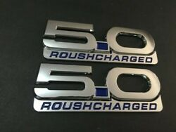 Chrome Mustang Gt Billet Coyote 5.0 Emblems Roush Charged Badge All Blue - 2pcs