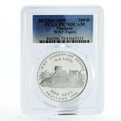 Thailand 200 Baht Wwf Conserving Nature Series Tigers Pr70 Pcgs Silver Coin 1998