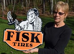 Old Style Large Fisk Tires Auto Die-cut Gas And Oil Thick Steel Sign Made In Usa