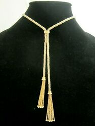 Stunning Ladies 14k Multi-tone Gold Bolo Style Chain Necklace 31.9g