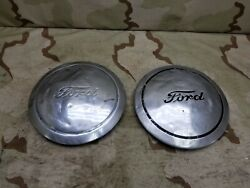 1940and039s 50and039s Ford Wheel Center Cap Poverty Dog Dish Vintage Script Fomoco Oem 10