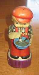 Vintage Rare Marusan San Japan Bubble Boy Tin Wind Up Toy With Key Parts Repair
