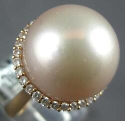Large .44ct Diamond And Aaa Pink South Sea Pearl 18kt Rose Gold 3d Halo Love Ring