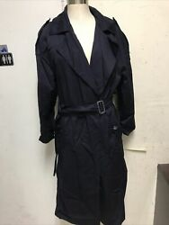 Women's Blue Trench Coat By William Wallace Insulated Petite 12p Heavy Duty