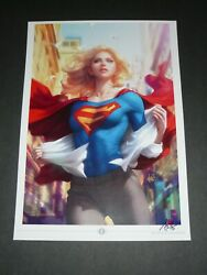 2021 Supergirl 15 Art Print Signed By Stanley Artgerm Lau 11.7x16.5a3