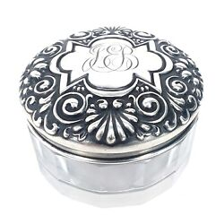 Glass Trinket Box With 925 Sterling Silver Lid Total Weight 25g Vintage/antique
