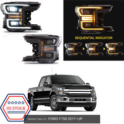 Fits 2018-19 Ford F150 Projector Headlight Black Full Led Switchback Drl Signal