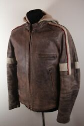 Belstaff World Of War 3 In 1 Leather Jacket And Vest Hoodie Sz L 002886