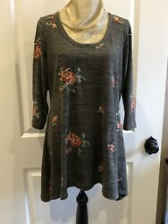 1x Fig And Flower Sweater Swing Tunic Top Brown Gray 3/4 Sleeves
