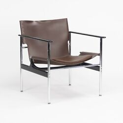 2020 Charles Pollock For Knoll Sling Arm Chair In Brown Leather And Chrome 657