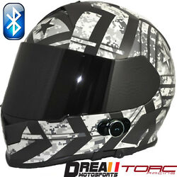 Torc T14b Bluetooth Force Matte Black Army Military Full Face Motorcycle Helmet