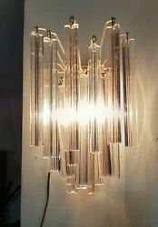 Pair Of Murano Glass Wall Venini Sconces, Each With 21 Glass Prisms 60s