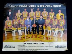 1971-72 Los Angeles Lakers Nba Champs Team Photo Signed Jerry West Chamberlain