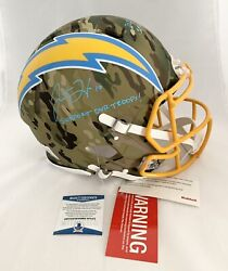 Chargers Justin Herbert Signed Inscribed Authentic Camo Full Size Helmet Beckett