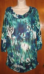 Relativity Plus 2x Layered Shirt/blouse Green/blue W/ Cami Worn Once