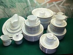 81 Piece Partial Set Of Wyndham Fine China Made In Japan Penrose 394 Silver Rim
