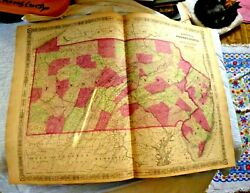 Antique Lovely Colored Large Map States Of Pennsylvania And New Jersey 1864