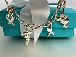 And Co. Paloma Picasso Dove Heart Kiss Scribble 4 Charm Bracelet Vintage