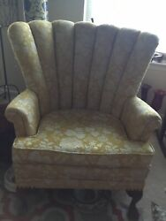 Antique Vintage 1950's Fluted Channel Back Queen Anne Wing Back Arm Chair Gold