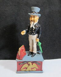 Vintage Uncle Sam Mechanical Bank Cast Iron In Working Condition