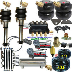 Air Suspension Kit-complete Struts Front And 4 Link Air Ride Dual Dc480 5 Gal Ss