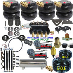 Air Suspension Kit-complete Coils Front And 4 Link Air Ride Dual Dc480 5 Gal Ss