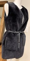 Loro Piana Shearling Leather Reversible Belted Coat Jacket Vest Small Nwot Rare