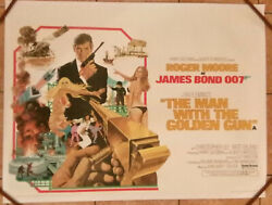Man With The Golden Gun James Bond 1974 Quad Poster .30 X 40 Inches On Linen