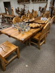 Teak Wood Dining Table 10and039 Long With Slab Legs Indoor Or Outdoor