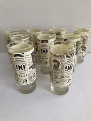 """Vintage Sears Roebuck Drinking Glass Reproduced From 1908 Catalog 6"""" Lot Of 9"""