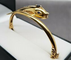 Fish/dolphin Sapphire And Diamond 18ct Yellow Gold Hinged Bangle Preloved Val4000