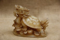 Old Asian China Old Antique Carved White Jade Dragon Turtle Coin Statue