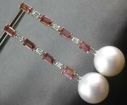 2.92ct Diamond And Aaa Pink Tourmaline And Pearl 18kt White And Rose Gold 3d Earrings