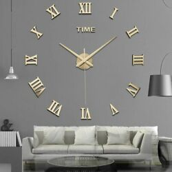 Mirror Surface Large Modern Wall Clock 3D DIY Roman Number Sticker Decor Clock
