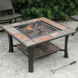 Fire Pit Table Heater Wood Burning Outdoor Patio Backyard Deck Stove Fireplace