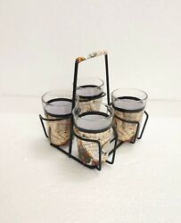 Hand Paint Cutting Chai Glasses With Metal/wooden Holder Art Of Painting