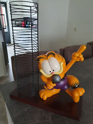 Extremely Rare Garfield On Stage Singing Big Figurine Cd Rack Statue