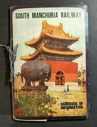 1919 South Manchuria Railway Hand Book Of Information Silk Bound Fold Out Map
