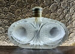 Vintage Old Rare Solid Heavy Art Deco Victorian Cut Clear Glass Perfume Bottle