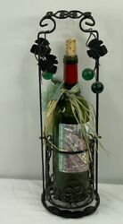 Wrought Iron Caddy Green Wine Bottle Battery Operated Lighted Grapes Home Decor