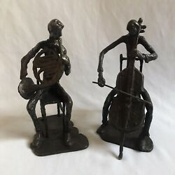 Unique Quality Musicians Cello And French Horn Sculpture Metal Brass Pair