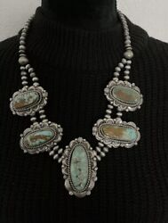 Native American Sterling Silver Royston Turquoise Bead Necklace