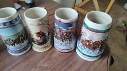Budwieser Holiday Beer Stien Lot Of 4