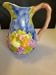 Vtg Jay Willfred Andrea By Sadek Ceramic Pitcher Purple Grapes Made In Portugal