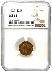 Ngc Ms 64 1929 2.50 Dollar United States Indian Head Quarter Eagle Gold Coin.
