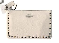 COACH Women#x27;s Small Wristlet with Prairie Rivets Chalk Brand New With Tags $39.99