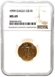 1999 American Gold Eagles1/4 Oz 10 - Ngc Ms69 Graded.