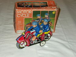 Mf 162 Police Motorcycle Tin Toy - Second Serie - 1970s - Excellent - With Box